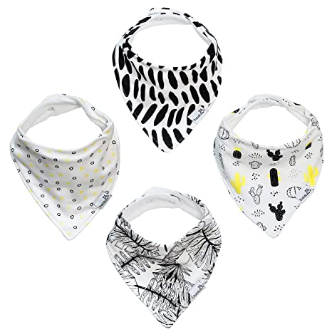 Baby Bandana Drool Bibs 3-Pack And Teething Toys 3-Pack Made With 100/% Organic C