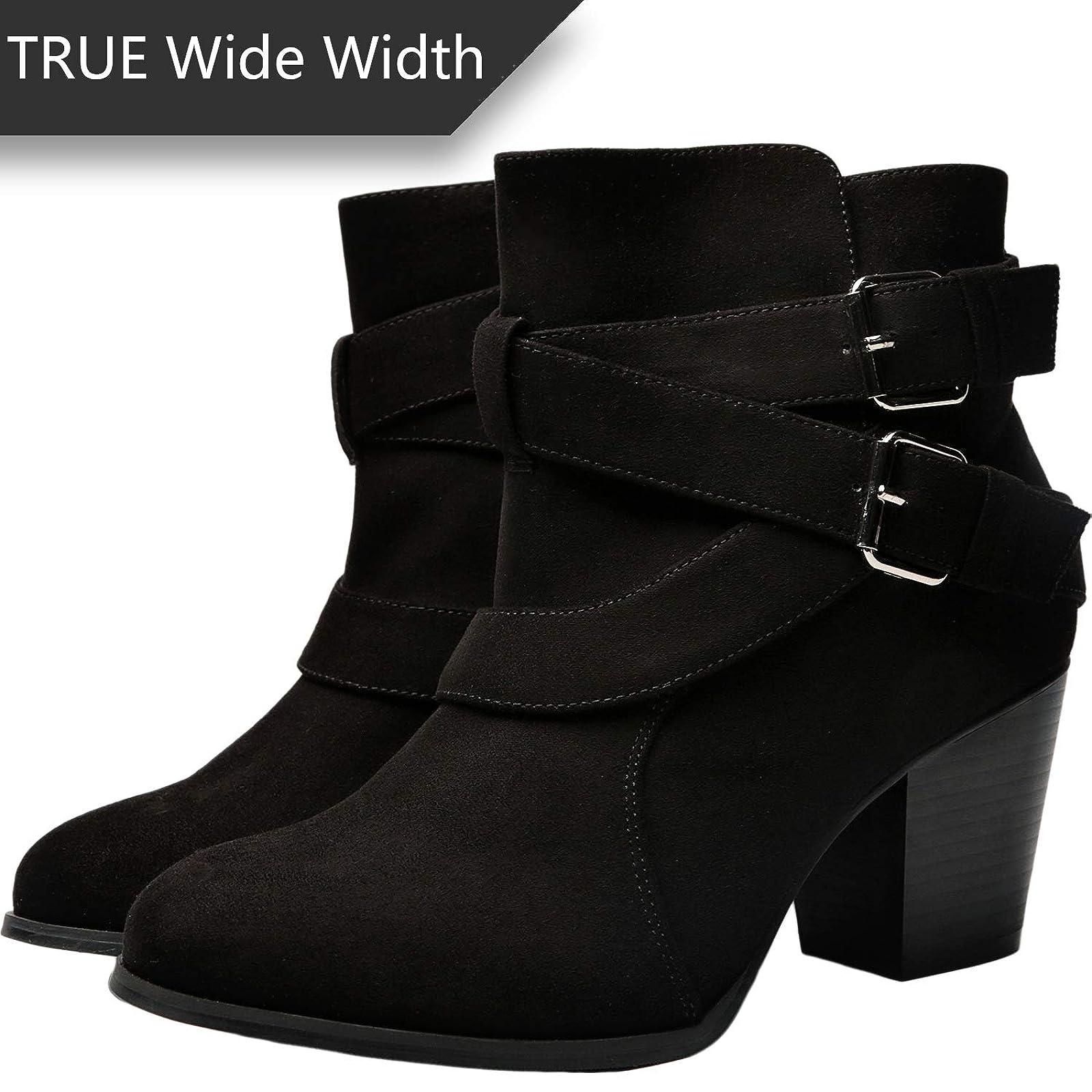 Luoika Women's Wide Width Ankle Boots - Black 10 XW US - 4