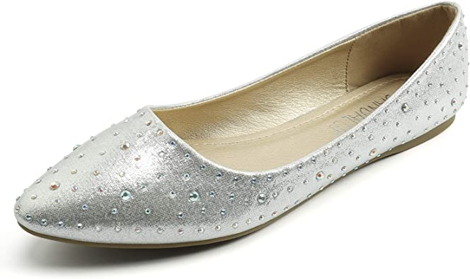 SANDALUP Sparkly Rhinestone Pointed Toe Flats Flat Shoes for Women