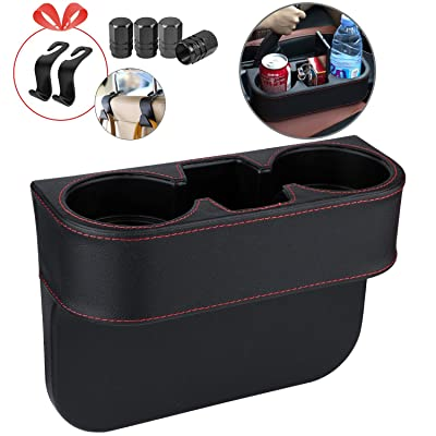 Homesprit Car Cup Holder with Phone Holder, Seat Gap Filler with Leather Cover, Side Seat Cup Holder for Storing and Organizing Car Drinking Cup Pocket Etc(no-Frame): Automotive