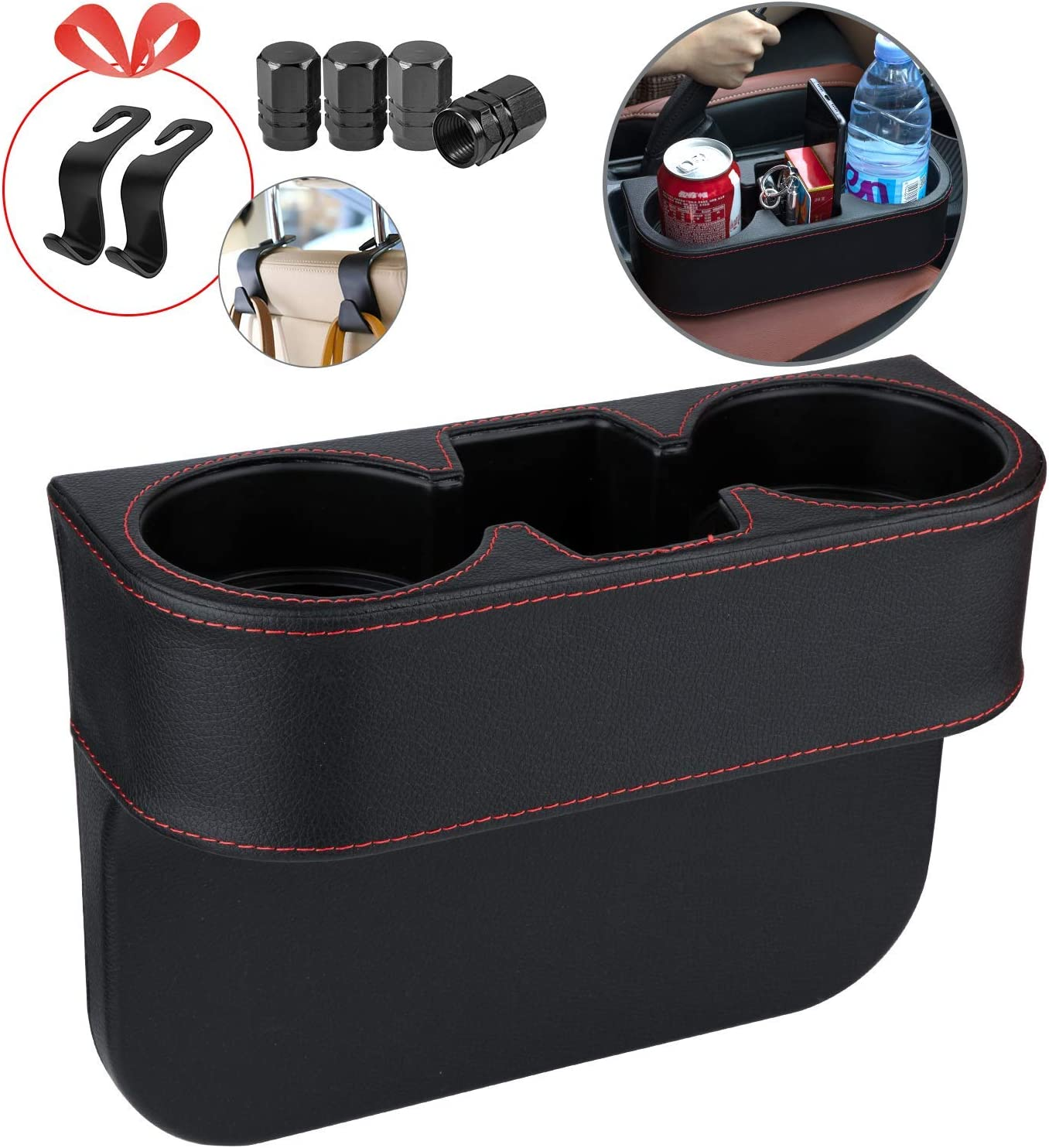 Homesprit Car Cup Holder with Phone Holder, Seat Gap Filler with Leather Cover, Side Seat Cup Holder for Storing and Organizing Car Drinking Cup Pocket Etc (No-Frame)
