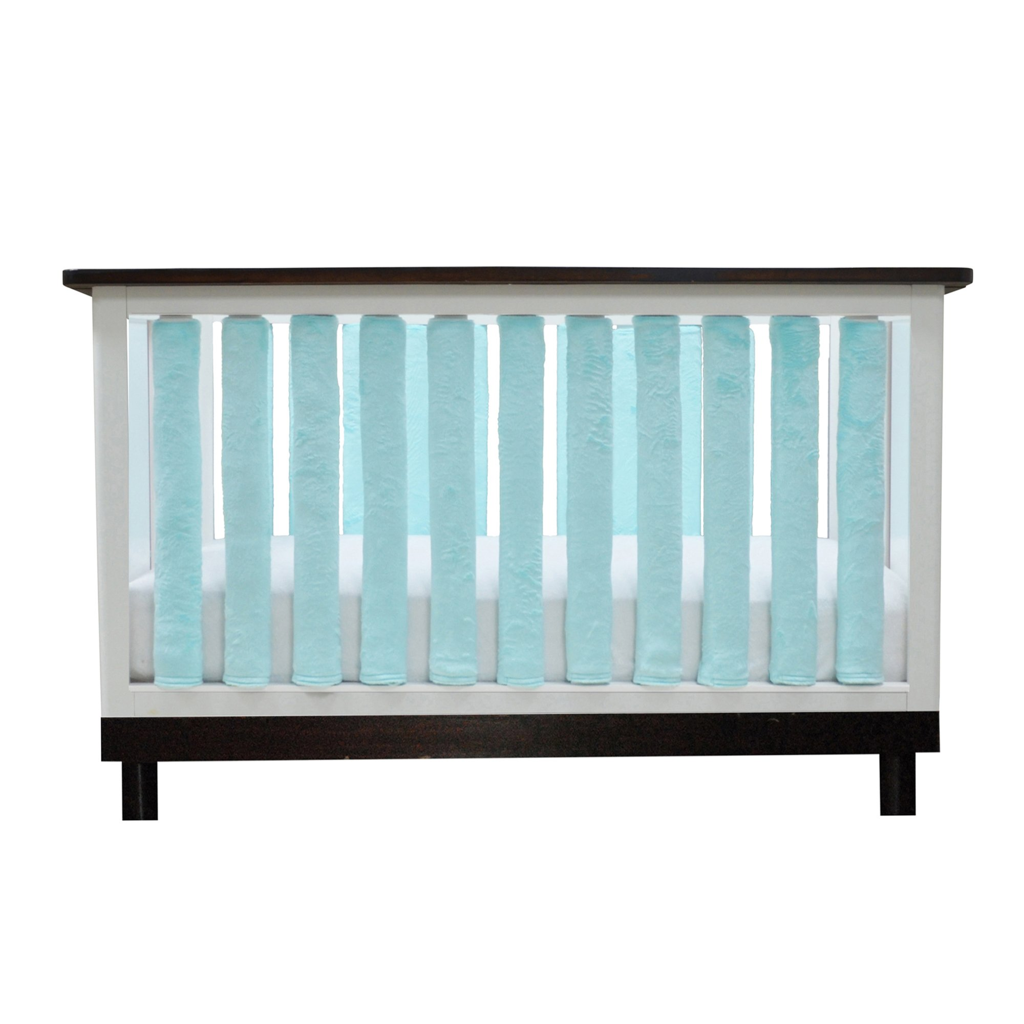 PURE SAFETY Vertical Crib Liners 38 Pack in Luxurious Aqua Minky