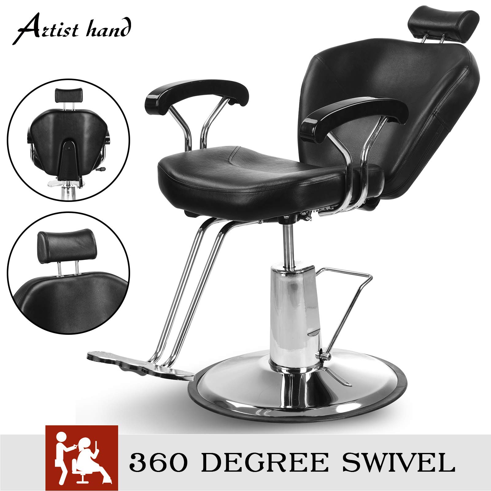 Artist Hand Hydraulic Reclining Barber Chair 360 Degrees Rolling Swivel Barber Chairs Hair Salon Spa Equipment by Artist Hand