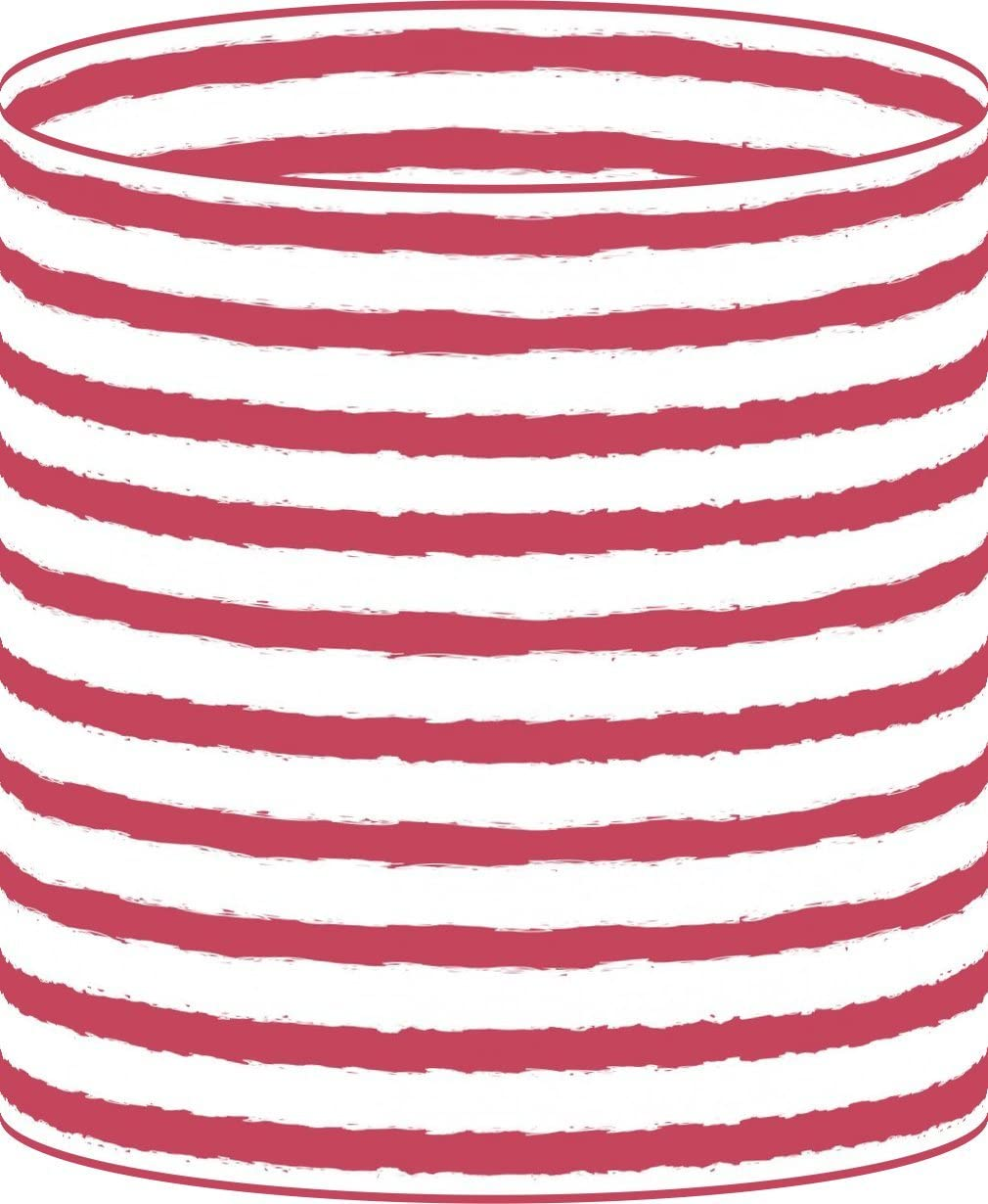 LampPix 10 Inch Table Lamp Shade – Nautical Stripe Red Canvas Desk Lampshade Spider Fitting