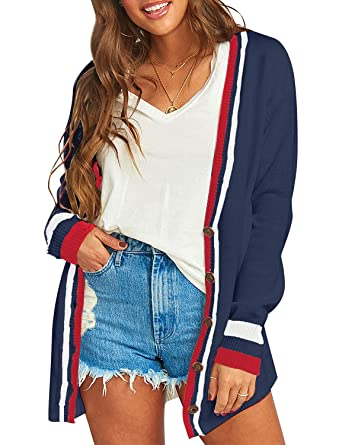 f672fd3ae7c Vetinee Women Open Front Long Sleeve Striped Buttons Cozy Knit Cardigan  Sweaters at Amazon Women s Clothing store