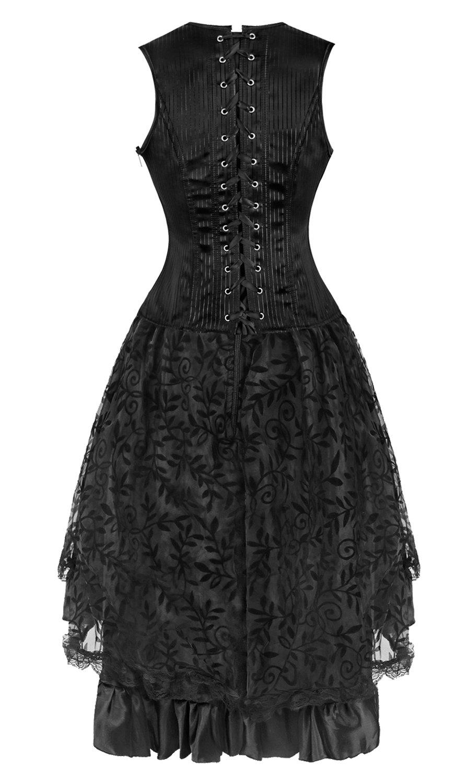 Kimring Women's 2 Pcs Steampunk Gothic Underbust Corset & Lace Dancing Skirt Set 5