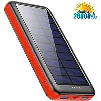 Cargador Solar 26800mAh, Ekrist Batería Externa Solar de Carga Rápida con 3 Entradas【Panel Solar / Tipo C / Mirco USB…