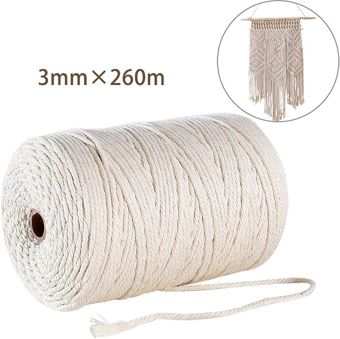GoMaihe Macrame Cuerda, 3mm x 260m Cordón Hilo de Algodón Natural ...