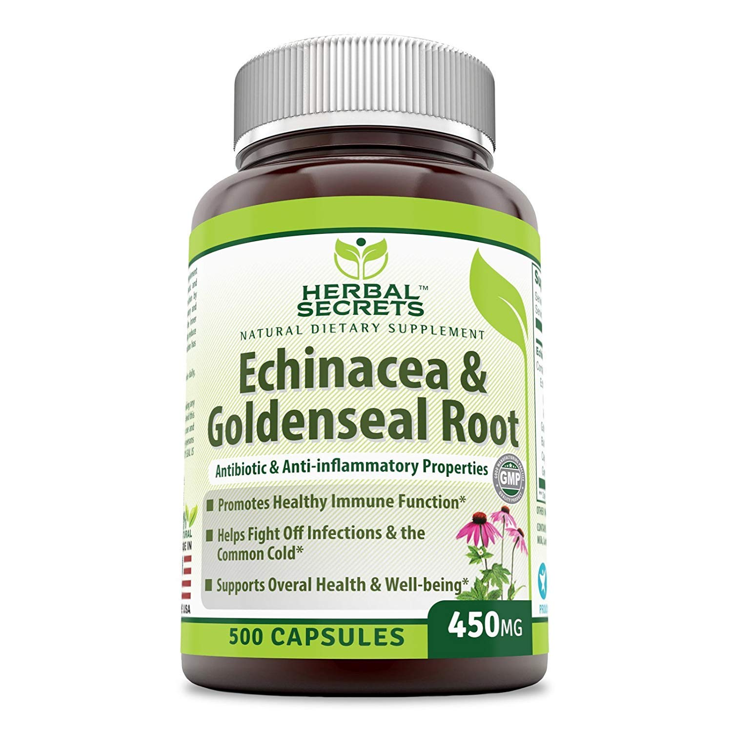 Herbal Secrets Echinacea Goldenseal Root – 450 Mg 500 Caps with Echinacea Purpurea, Goldenseal, Burdock Root Cayenne Pepper
