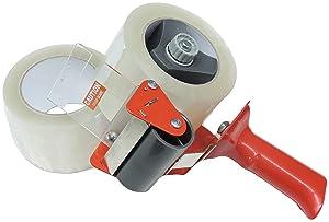 """3"""" in Heavy Duty Tape Gun Dispenser Box Carton Sealing Packing Packaging Tape Kit Side Loading Mandrel Commercial Grade 72mm +2 Rolls 2 Mil Solvent Acrylic Tape"""
