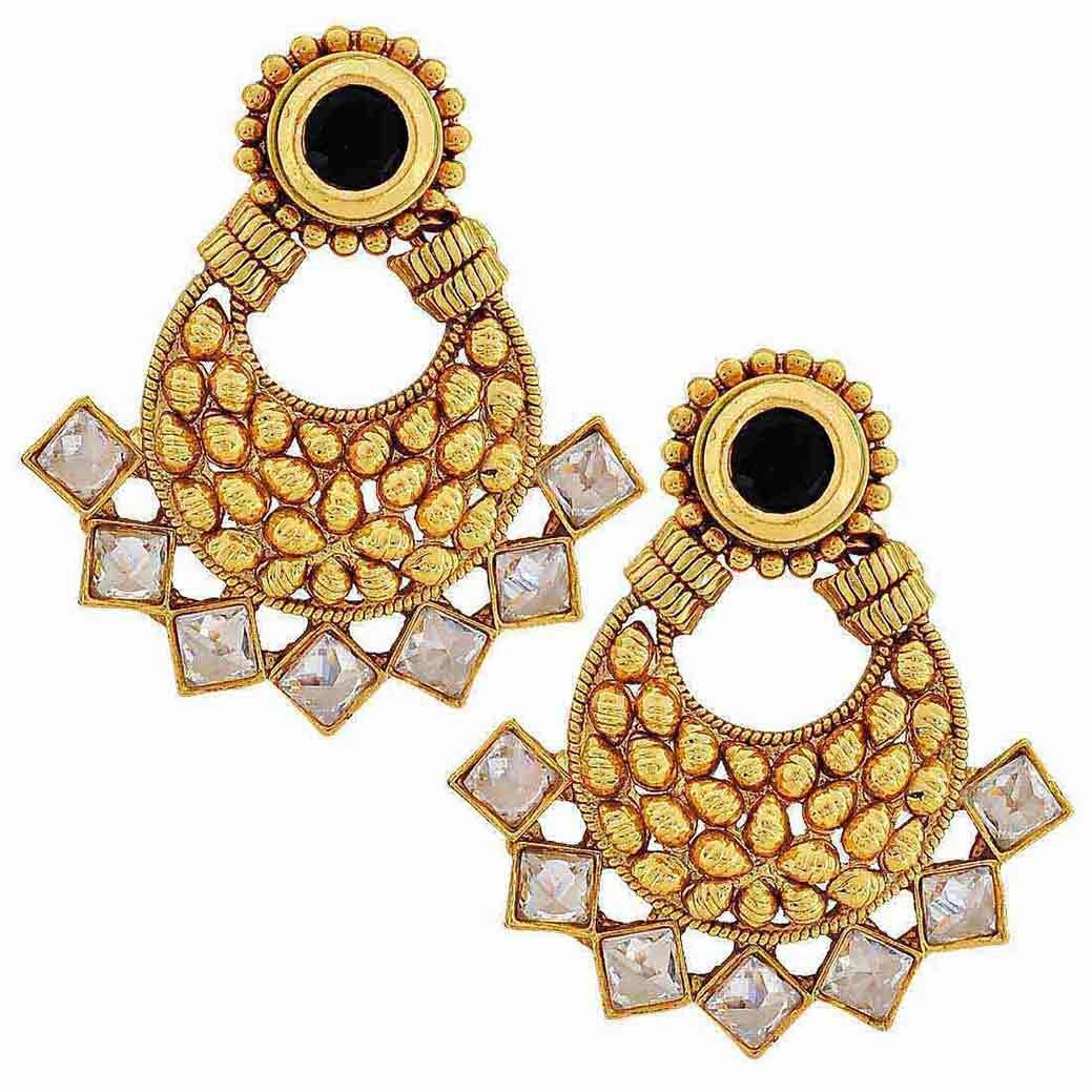 Maayra Wedding Festival Earrings Copper Dangler Drop Black Indian Kundan Jewellery