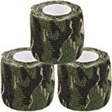Uning Self-adhesive Protective Camouflage Tape Wrap 5CM x 4.5M Tactical Camo Form Multi-functional Non-woven Fabric Stealth Tape Stretch Bandage for Outdoor Military Hunting (Pack of 3)