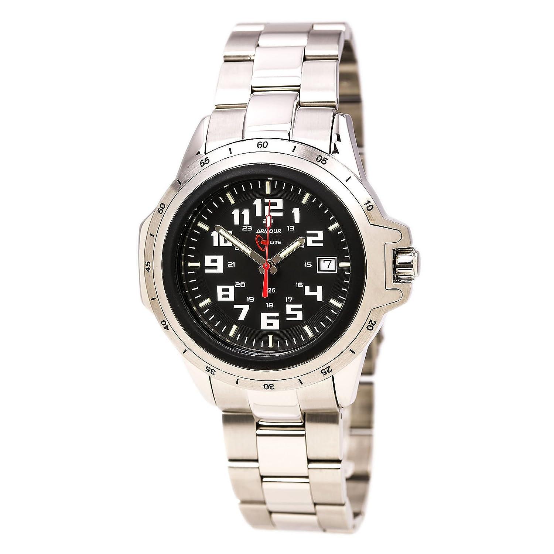 Armourlite AL215 Herren-Edelstahl-Edelstahl-Armband kratzfestes Glas schwarz Zifferblatt Uhr