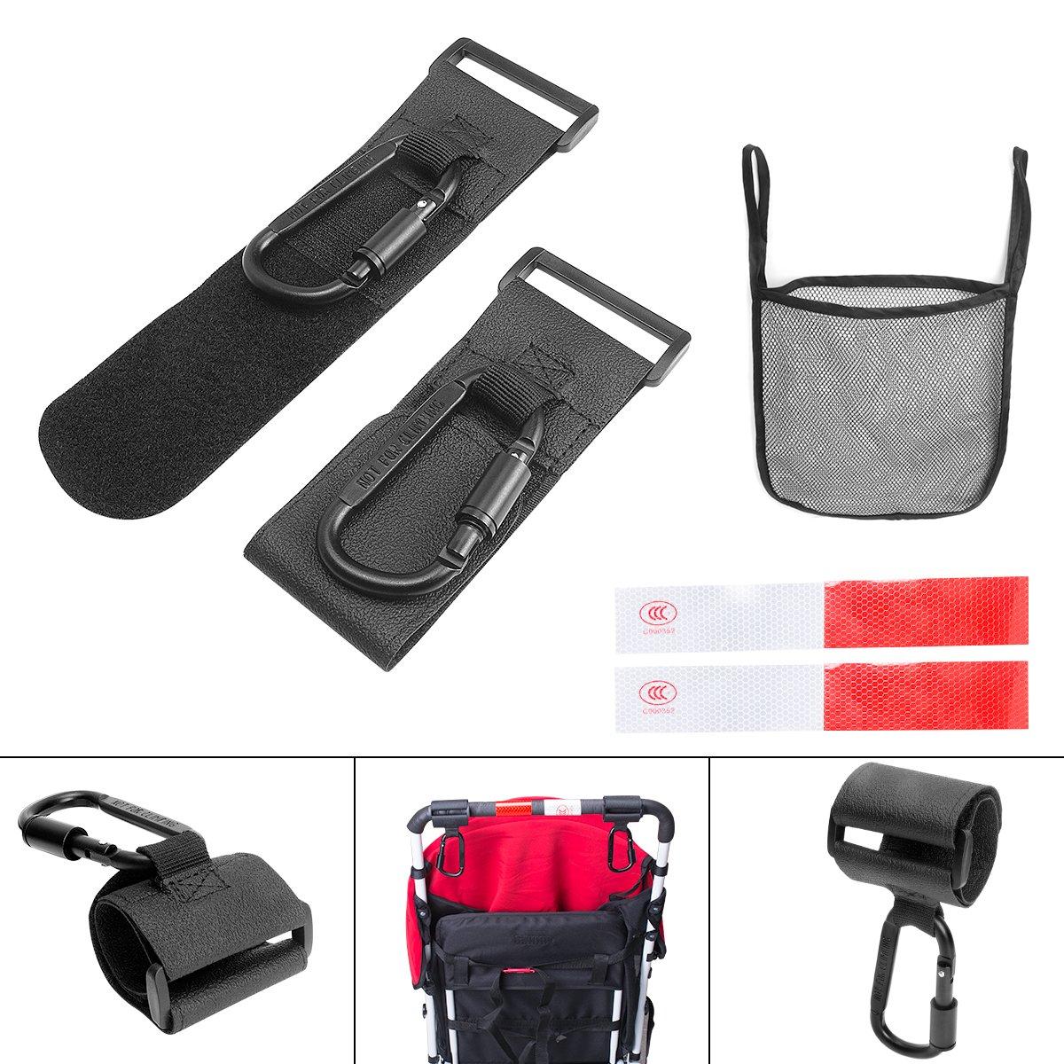 Stroller Hook Set, Pack of Handy Pram Hook Buggy Hanger Clip + Stroller Net Bag for Baby Diaper Bags Groceries Clothing Purse Stroller Accessories Kit Hangs for Jogging Walking/Shopping Victool VBC-1741CA-T1