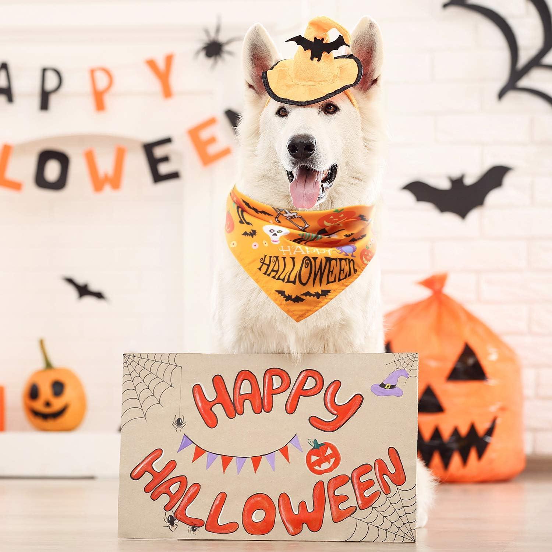 calaveras mascotas murci/élago gatos ara/ña de mascotas bufanda de calabaza 3 piezas de bandana reversible triangular para perro de Halloween accesorios para perros