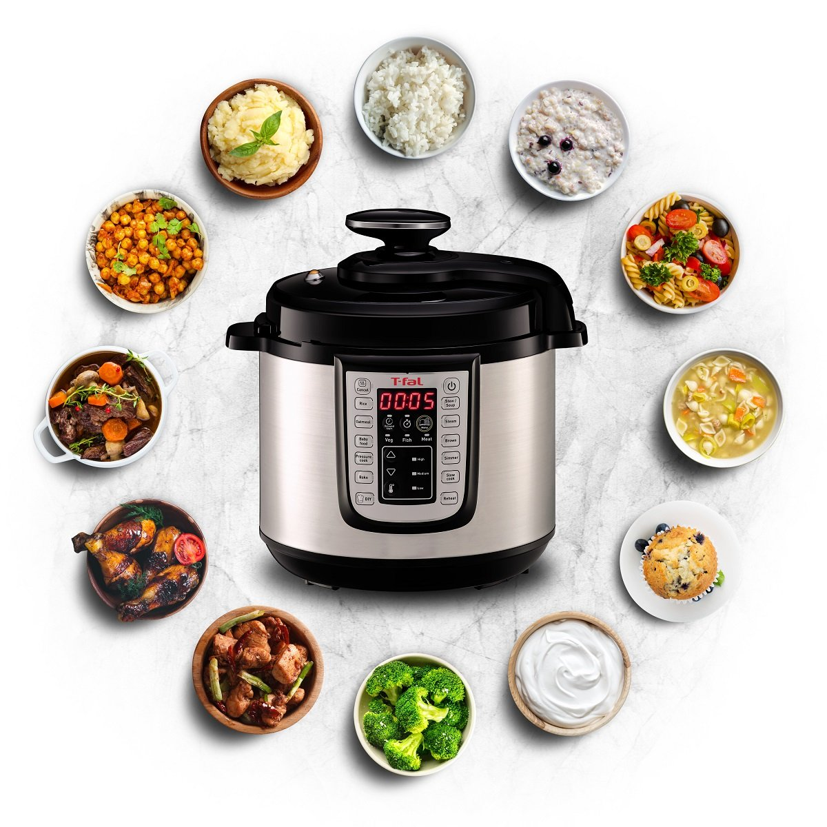 $99.99 (now: $163.64) T-fal CY505E 25-all-in-1 Multicooker Programmable Electric Fast Pressure Cooker, 1100-Watts, 6-Quart, Stainless Steel