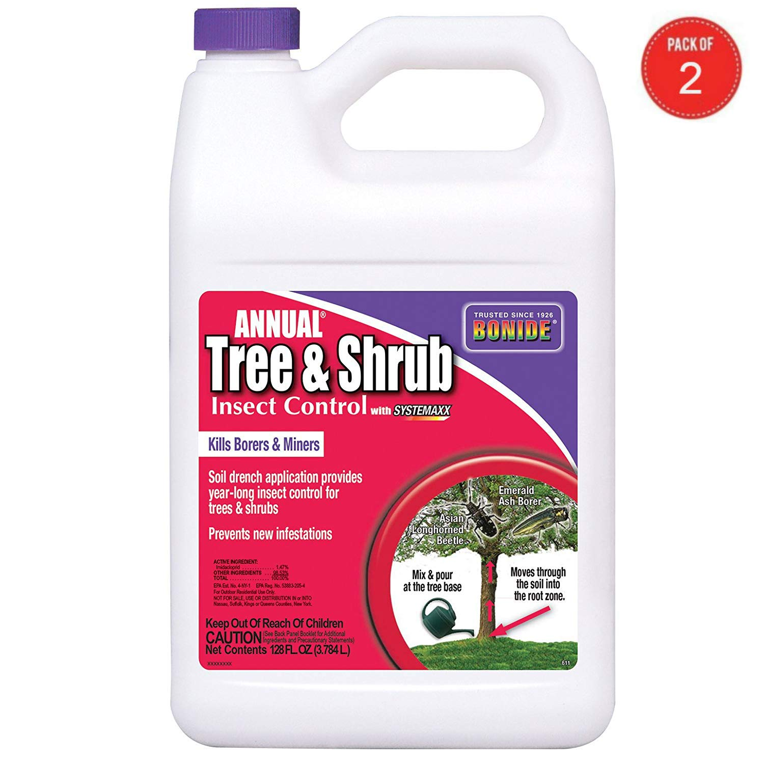 Bonide 611 Annual Tree and Shrub Insect Control, 128 Fl oz(1 Gallon) (Pack of 2) by Bonide