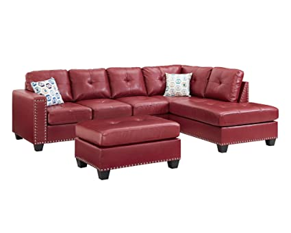 Sectional Sofa Set Faux Leather Nailhead Studded Reversible With Ottoman  (Red) 2019 Model By
