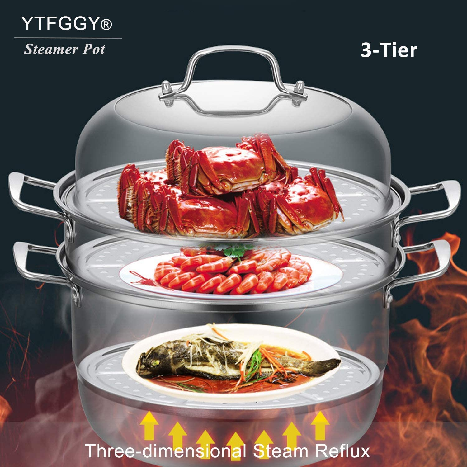 Stainless Steel Steamer Set YTFGGY 3-Tier//Layer Steamer cooking pot steam soup pot and steamer with Pressure Cooker Accessories Saft and Durable stack Double Boilder