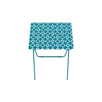 Folding Tray Table 2 Pack TV Dinner Trays Light Snack Accent Tables Teal  Portable Lightweight Metal