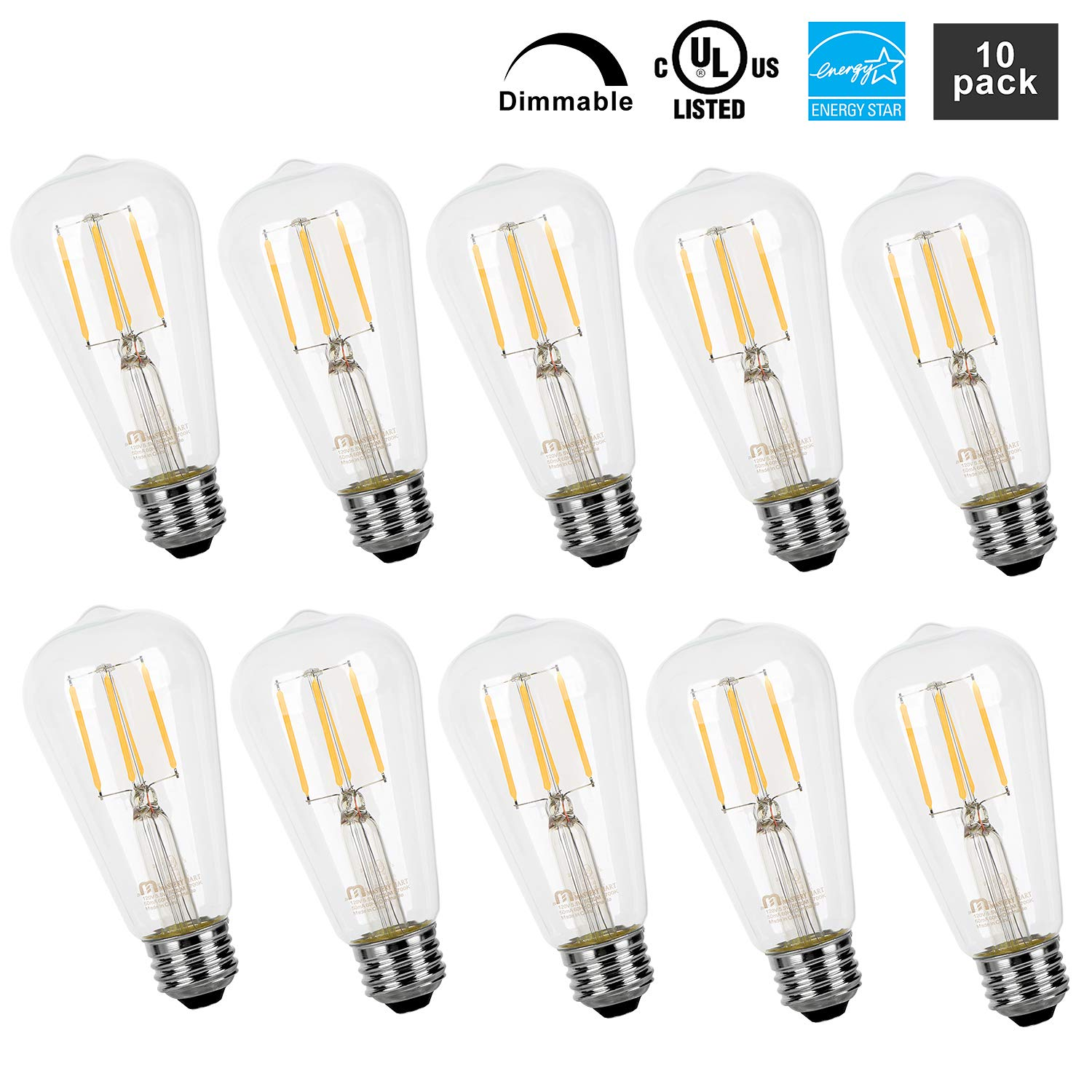 Mastery Mart Vintage LED Light Bulb, Clear Glass ST21 Antique Edison Bulb, Dimmable 5.5W (60W Equivalent), 500LM 2700K Soft White, E26 Base Decorative Filament Bulbs, UL and Energy Star, 10 Pack