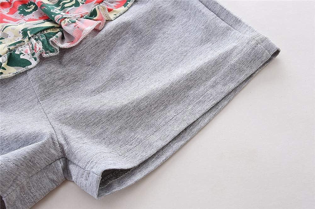 LittleSpring Little Girls Shorts Set Summer Flower Camisole Tank Top and Shorts Outfit Green