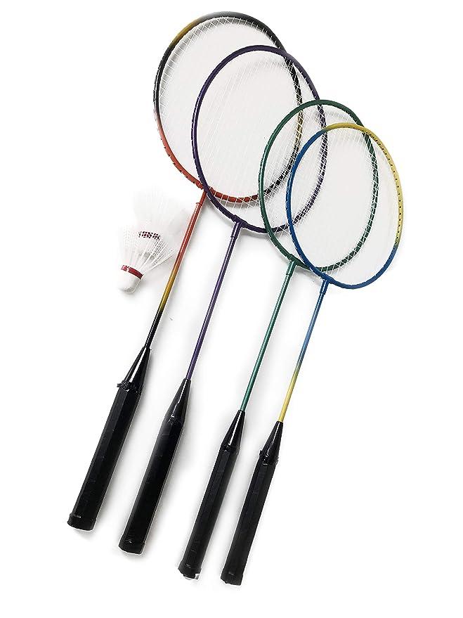 Gewicht: 90g // passend f/ür Garten und Strand Gesamtl/änge: ca Farbe: Gemischt Badminton 4er Schl/äger Set mit 2X Federball Sport Serie 63,5 cm