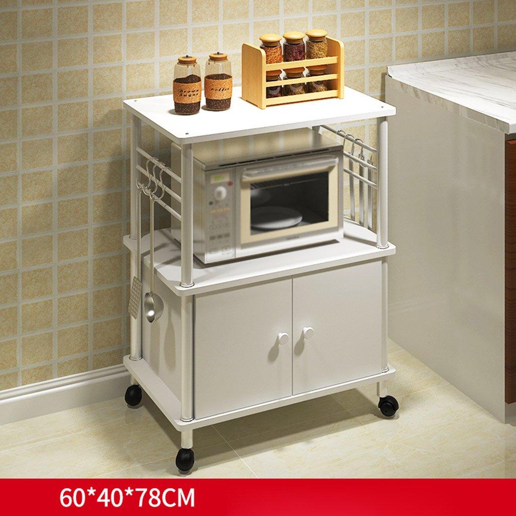 Estantes y soportes para ollas y sartenes HWF Rack de Almacenamiento multifunción de Suelo Rack de Cocina Creativo Rack de Horno de microondas (Color : B): ...