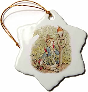 3dRose ORN_110164_1 Peter Rabbit in The Garden-Vintage Art-Snowflake Ornament, Porcelain, 3-Inch