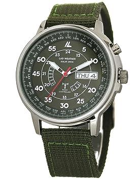 [LAD WEATHER] Funciona con energía Solar Automático corrección de Tiempo Reloj de Radio para Hombres Relojes de Pulsera Verde: Amazon.es: Electrónica