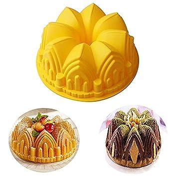 Joyeee Antiadherente de Molde para Torta de silicona, Molde para hornear en forma de corona