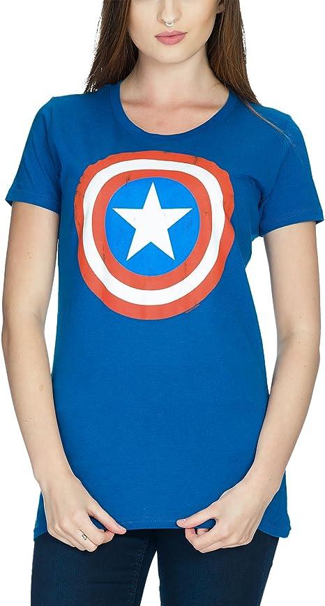 Capitán América Logo Shield Girlie Camisa Azul Algodón, mujer, azul, medium: Amazon.es: Deportes y aire libre