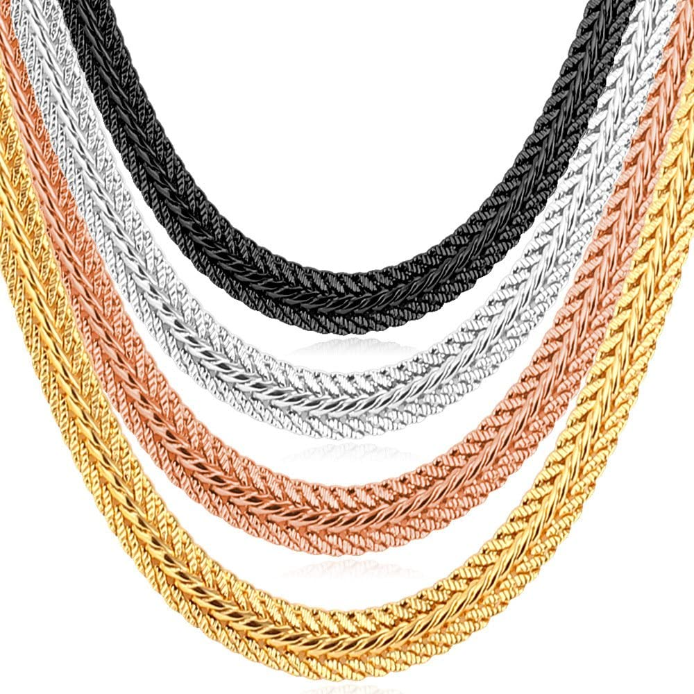 "U7 Men Women 5MM/6MM Thick Foxtail/Mesh Chain Free Engraving Service, Match Pendant or as Necklace,Length 18"" to 32"""