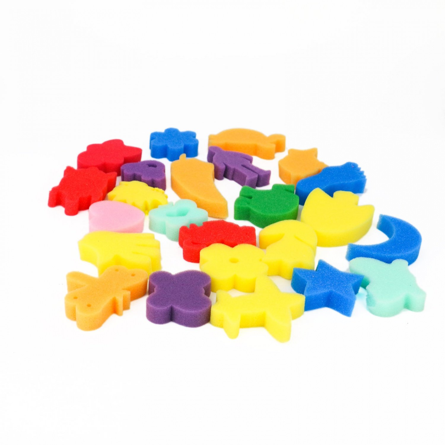 Buorsa 24pcs Sponge Painting Watercolor Craft Sponge Shapes Craft Early Learning for DIY Toddlers Assorted Pattern Sponge for Kids