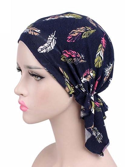 Women s Head Scarf Headwear Pre Tied Bandana Turban Beanie Silk Feeling  Sleep Hair Wrap Hat Feather Navy at Amazon Women s Clothing store  699157a5713