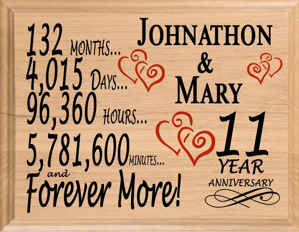 Amazon Com Broad Bay 11th Personalized 11 Year Anniversary Wedding Gift For Wife Husband Couple Him Her Home Kitchen