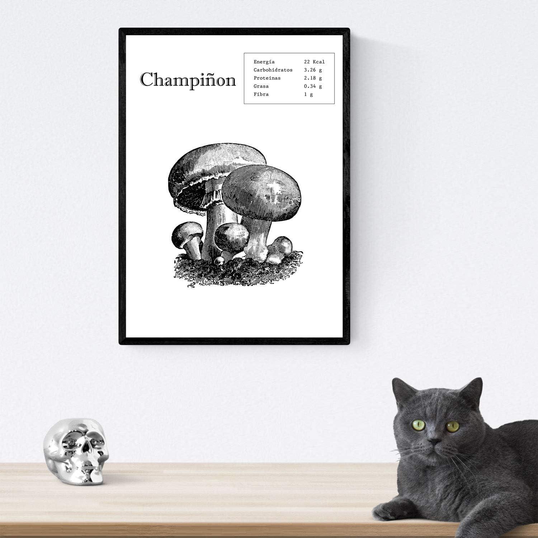Nacnic Poster de Champiñon. Láminas de frutas y verduras. Tamaño A3