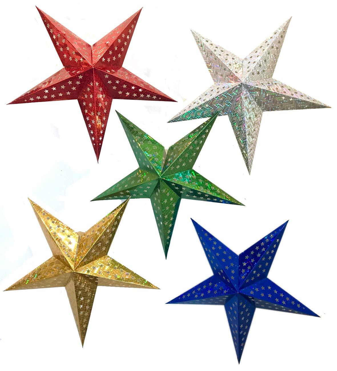 Big 24-Inch Set of Five STARSIX Spiceberry Home Metallic Paper Star Lanterns