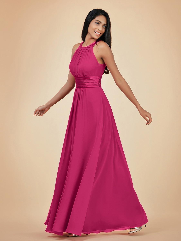 Alicepub Damen Chiffon Abendkleid Lang Elegant Ohne Arm ...