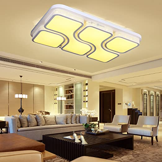 XuanYue 80W LED Ceiling Lights Dimmable Color Temperature Adjustable Rectangle Squre Acrylic Modern White