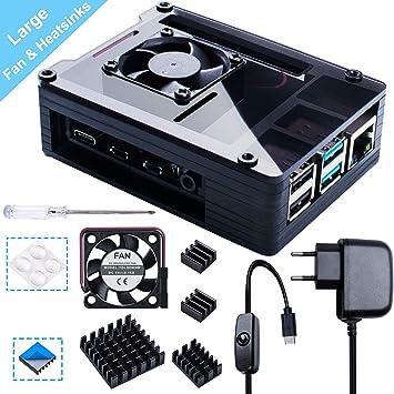Smraza Case para Raspberry Pi 4 con Cargador USB-C de 5V 3A,35mm*35mm Ventilador, Disipadores Térmicos de 4PCS para Raspberry Pi 4 Modelo B (Solo para ...