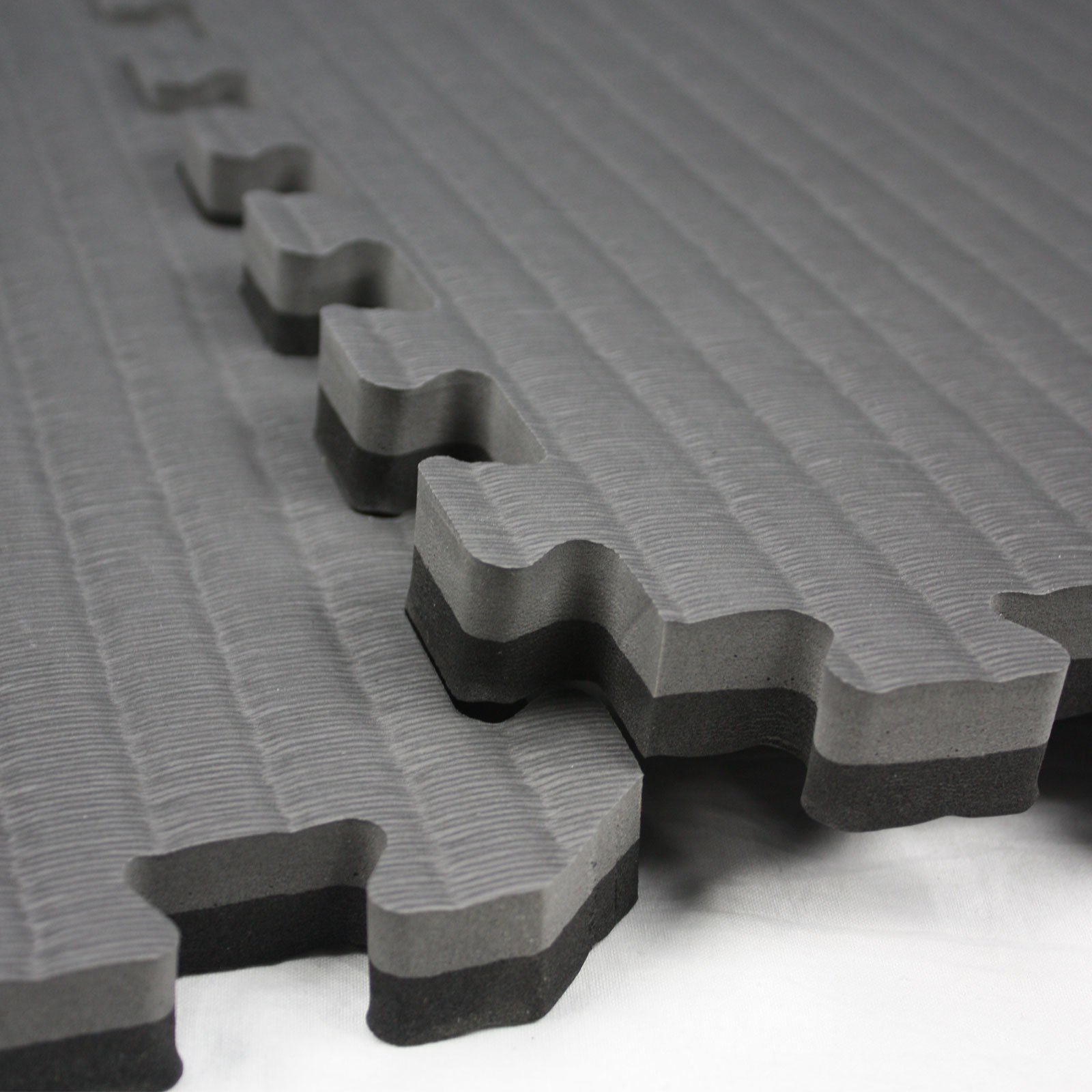 IncStores - Tatami Foam Tiles (Black/Grey, 16 Tiles) - Extra Thick mats Perfect for Martial Arts, MMA, Lightweight Home Gyms, p90x, Gymnastics, Yoga, Cardio, Aerobic, and Exercises by IncStores (Image #3)