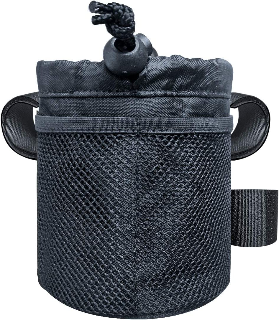 UCEDER 3 Mounting Straps Bicycle Handlebar Cup Holder,Bike Water Bottle Holder Bag Drink Holder with Mesh Pocket and Adjustable Buckle.Easy to Reach The Bottle Without Stopping Cycling. (5.1