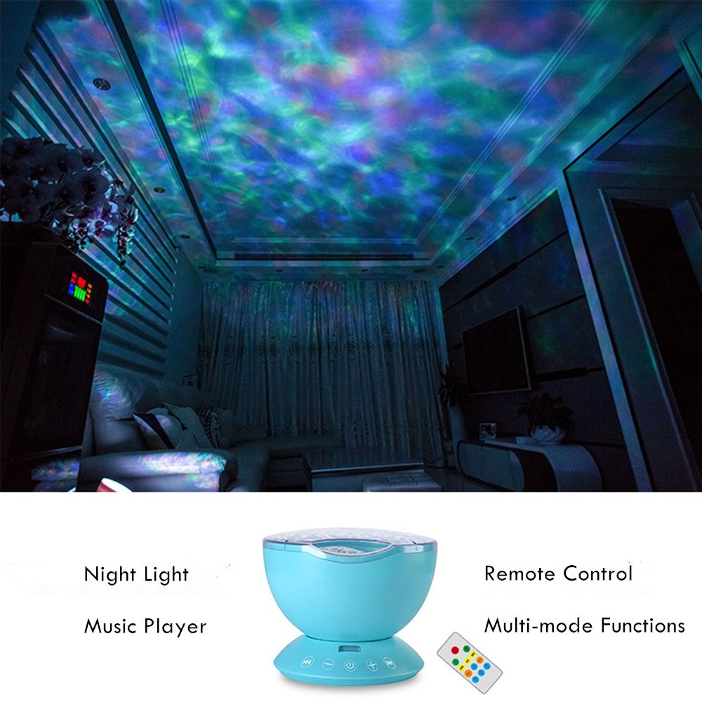AMOUR-JOIE Ocean Wave Projector Remote Control TF Cards Music Player Speaker LED Night Light Aurora Master Projection Kids USB by AMOUR-JOIE