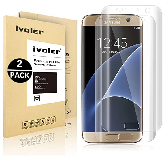 Galaxy S7 Edge Screen Protector [Full Coverage] ,iVoler [2-Pack] [3D Full Curved Edge] [No Bubble] [Ultra Clear] Premium PET Film Screen Protector for Samsung Galaxy S7 Edge, at amazon