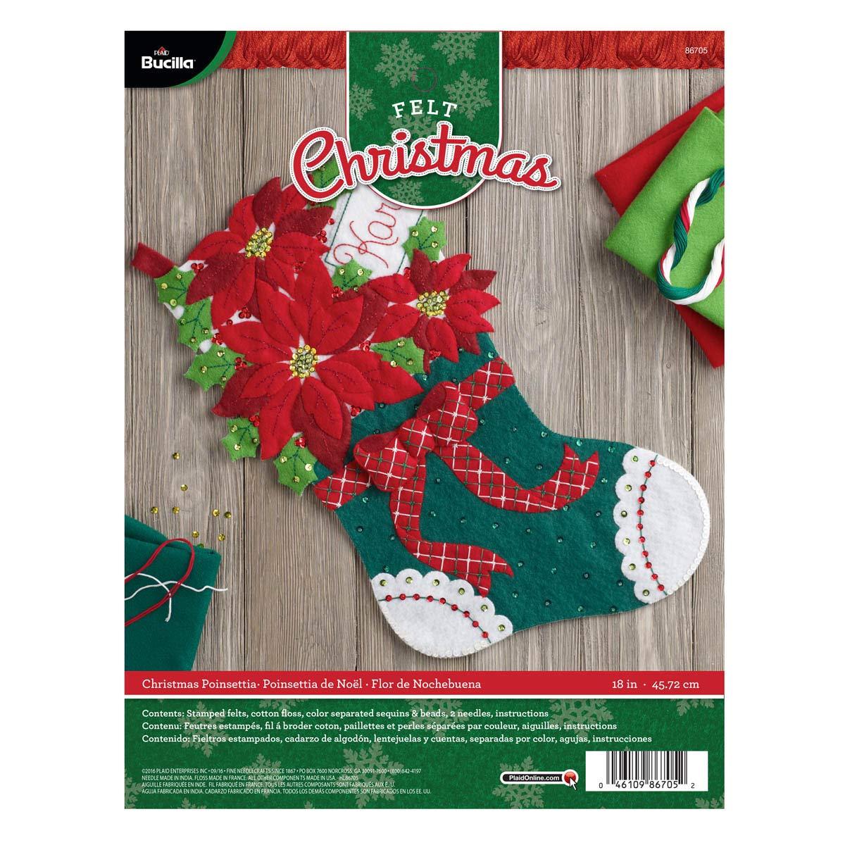 Bucilla Felt Applique Stocking Kit (18-Inch), 86705 Christmas Poinsettia