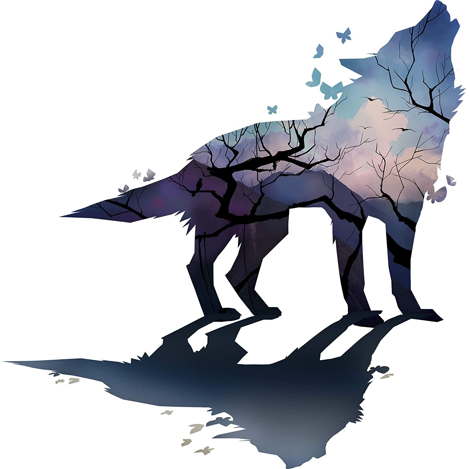 RW-9042 Creative Wolf Wall Decal Forest Sky Night Wolf Wall Stickers DIY Removable Waterproof Butterflies Wolf Shadow Wall Art Mural Decor for Kids Boys Bedroom Living Room Nursery Home Decoration