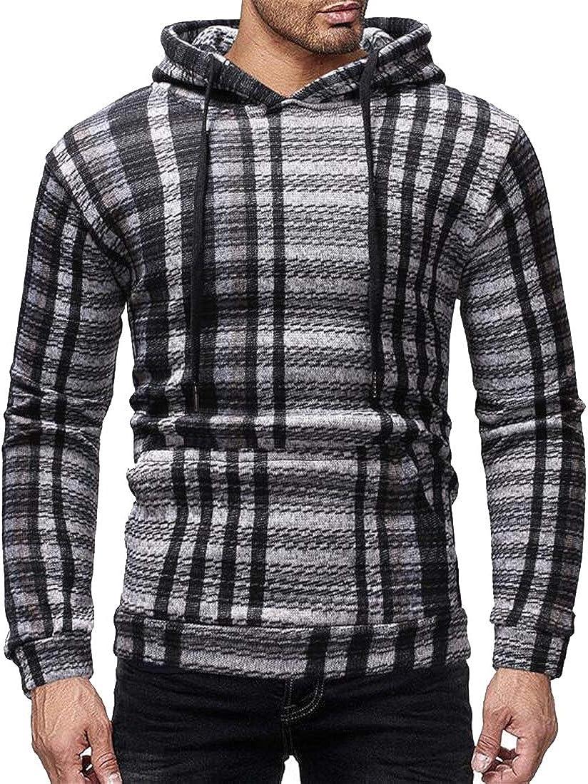 Fubotevic Men Slim Fit Long Sleeve Casual 格子Pocket Pullover Hooded Sweatshirt