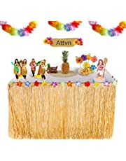 Attvn Hawaiian Luau Table Skirt - 9.6ft Hawaiian Tropical Hibiscus Grass Table Skirt with 26 Faux Silk Flowers for Home Picnic Birthday BBQ Tropical Garden Beach Summer Tiki Party Decorations (Gold)