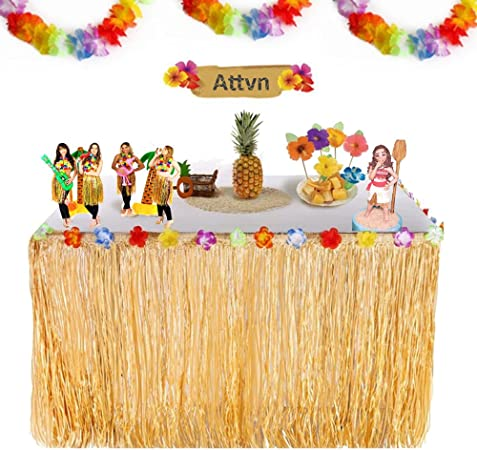 Attvn Falda de Mesa Luau Hawaiana - 9,6ft Tropical Hawaiian Mantel ...